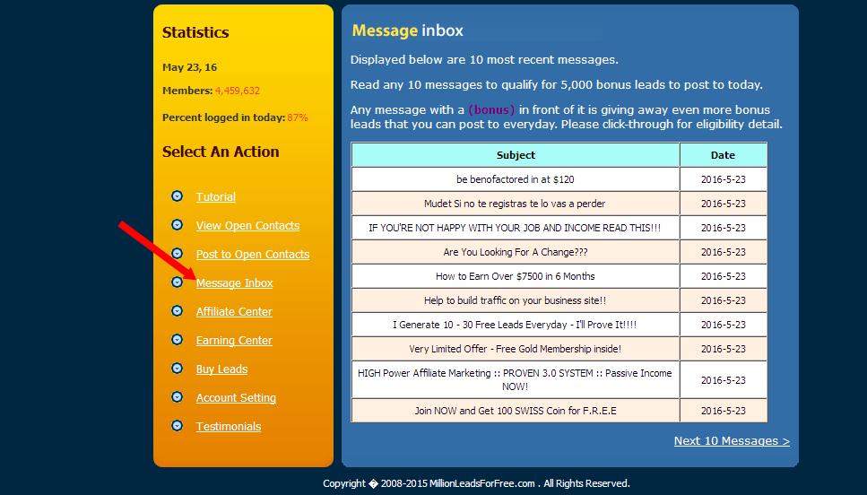 millionleads inbox