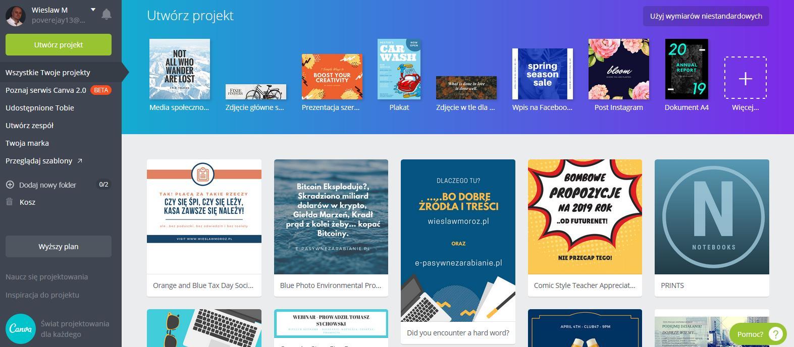 Canva i masz świetną, nowoczesną grafikę na Twój blog, stronę lub do reklamy firmy w której działasz (free)