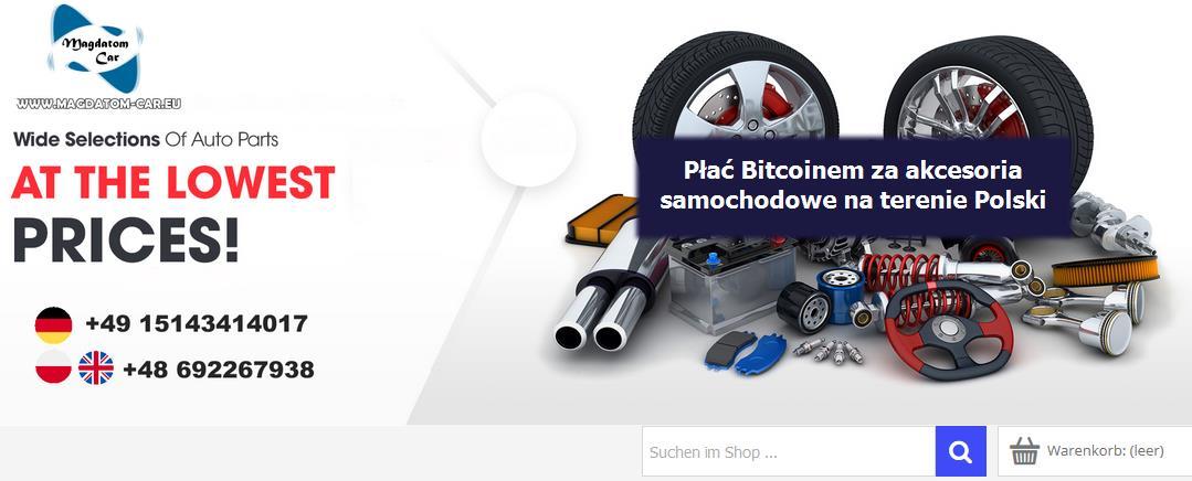 Zakup części samochodowych za pomocą Bitcoina