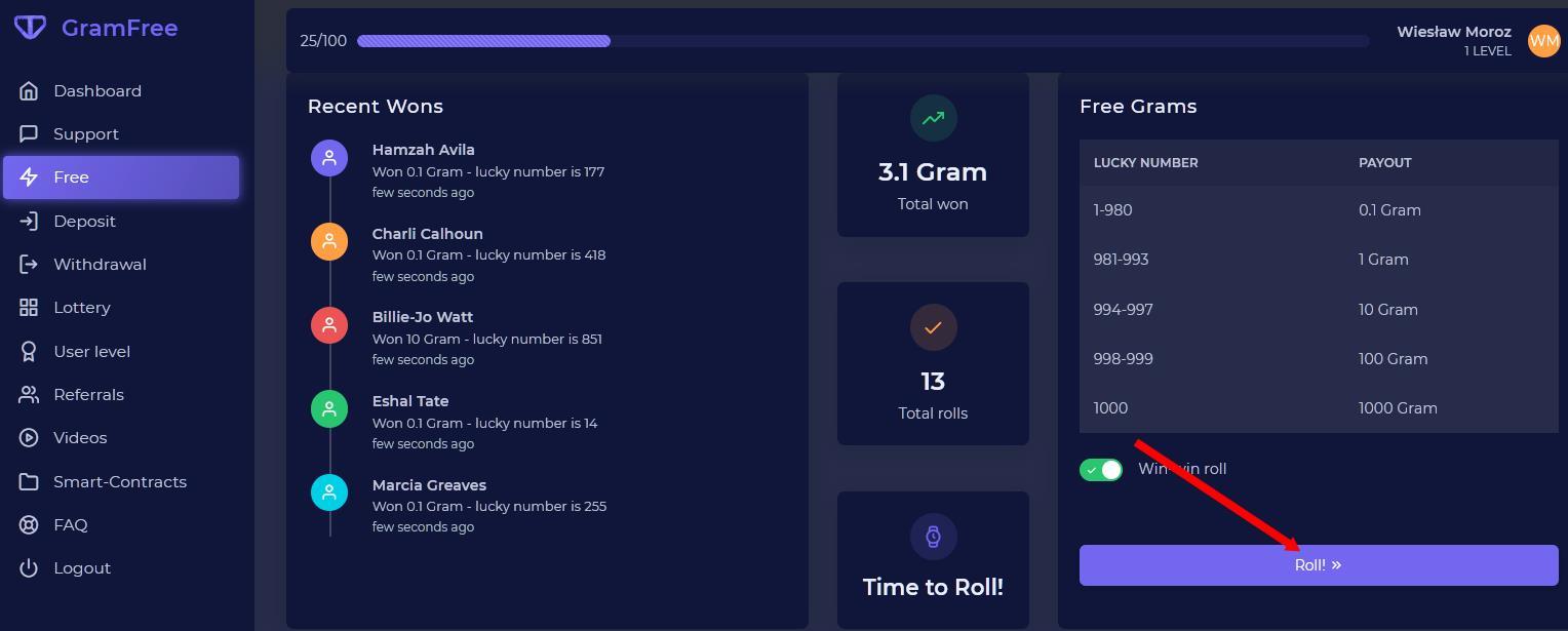 GRAMFREE - Dobra zabawa w połaczeniu z zarabianiem na platformie crypto