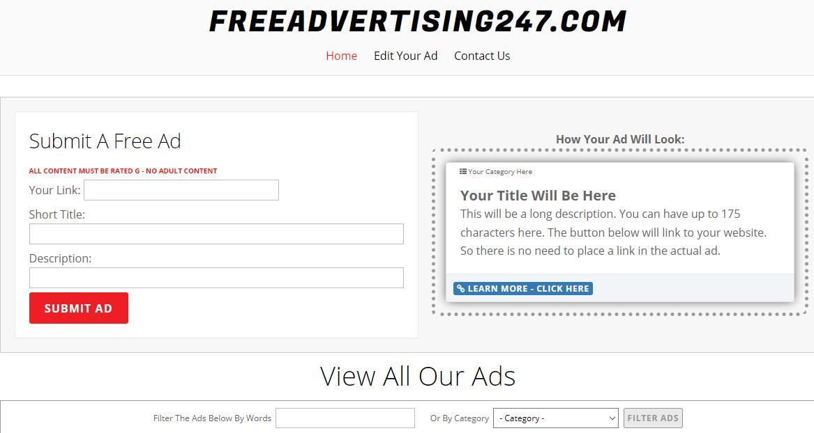 Freeadvertising247 czyli free reklama Twojego linku partnerskiego